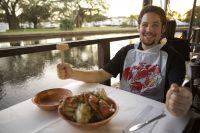 A Man eat crab