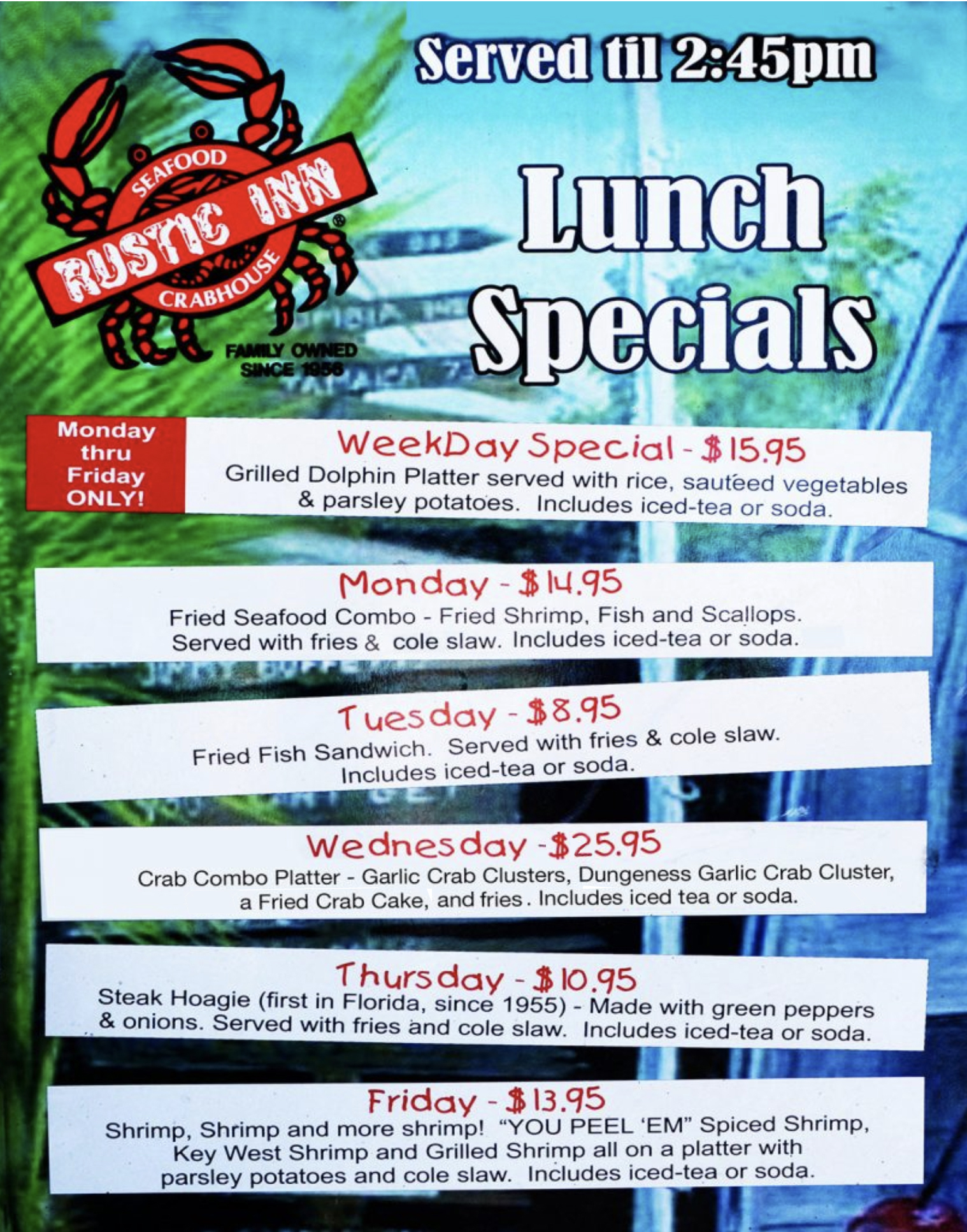 Rustic Daily Lunch Specials