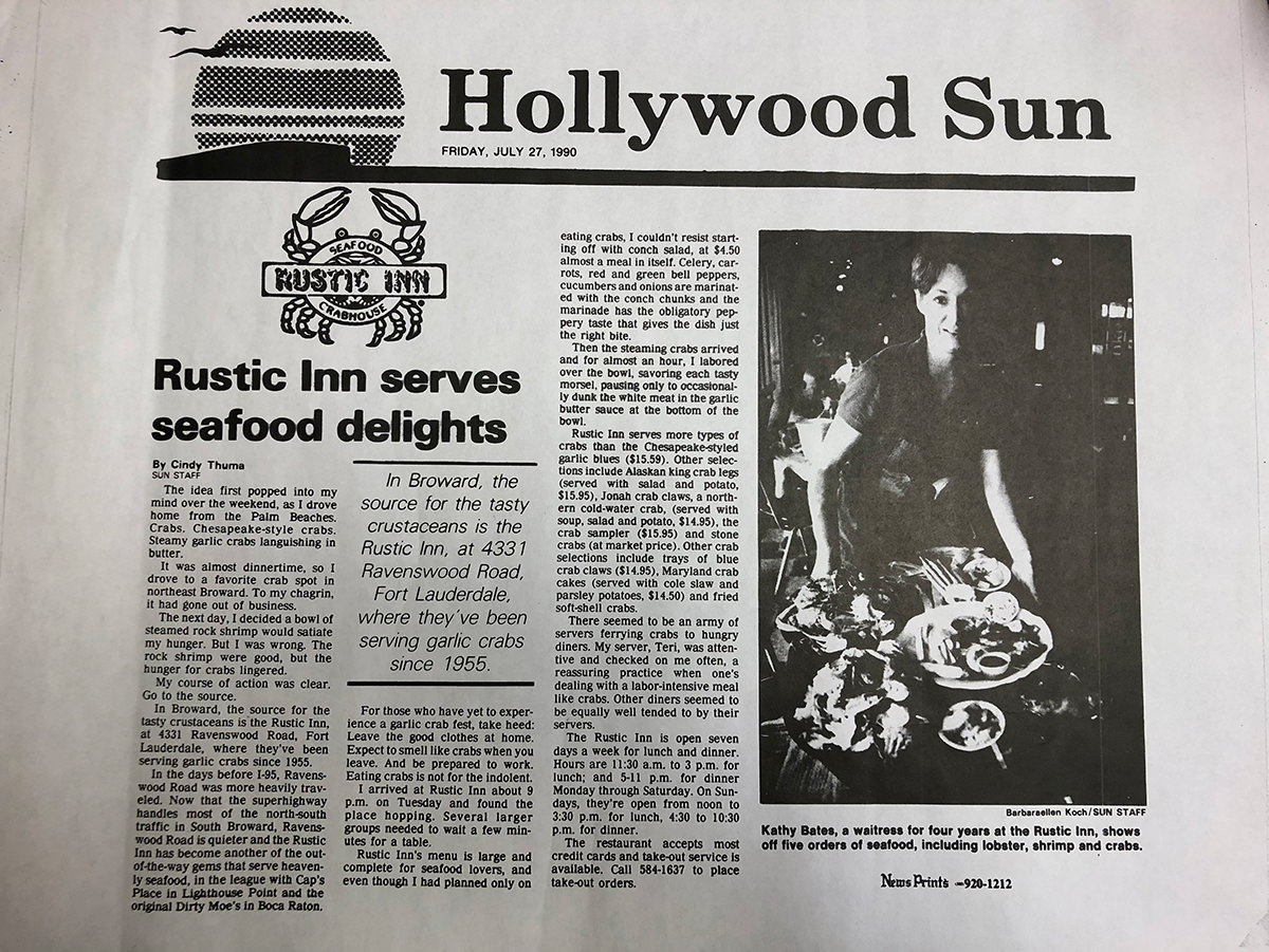 Hollywood Sun - Rustic Inn serves seafood delights