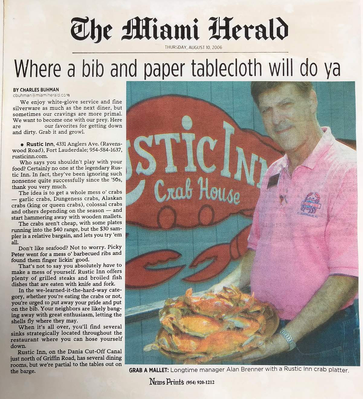 The Miami Herald - Where a bib and paper tablecloth will do ya