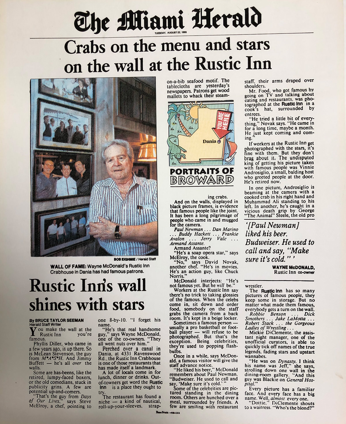 The Miami Herald - Crab on the menu and starts on the wall at the Rustic Inn